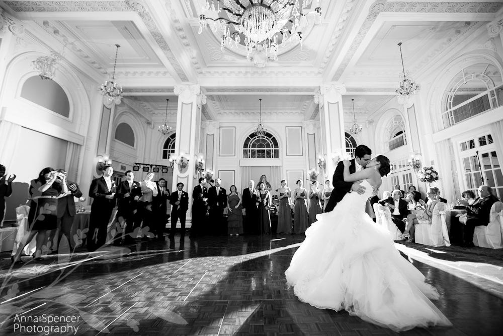 Bride And Grooms Wedding First Dance In The Grand Ballroom At Georgian Terrace Hotel Atlanta By Anna Spencer Photography
