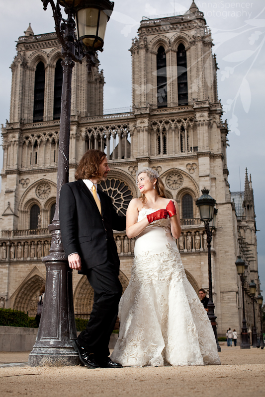 Glenn and Deborah (Bride and Groom) in front of Notre Dame in Paris France (Cathédrale Notre-Dame de Paris) at their Day After their destination wedding shoot