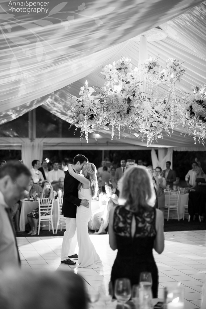 Bride and Grooms First Dance at their Wedding Reception at Sunset Bay on Grand Cayman Island