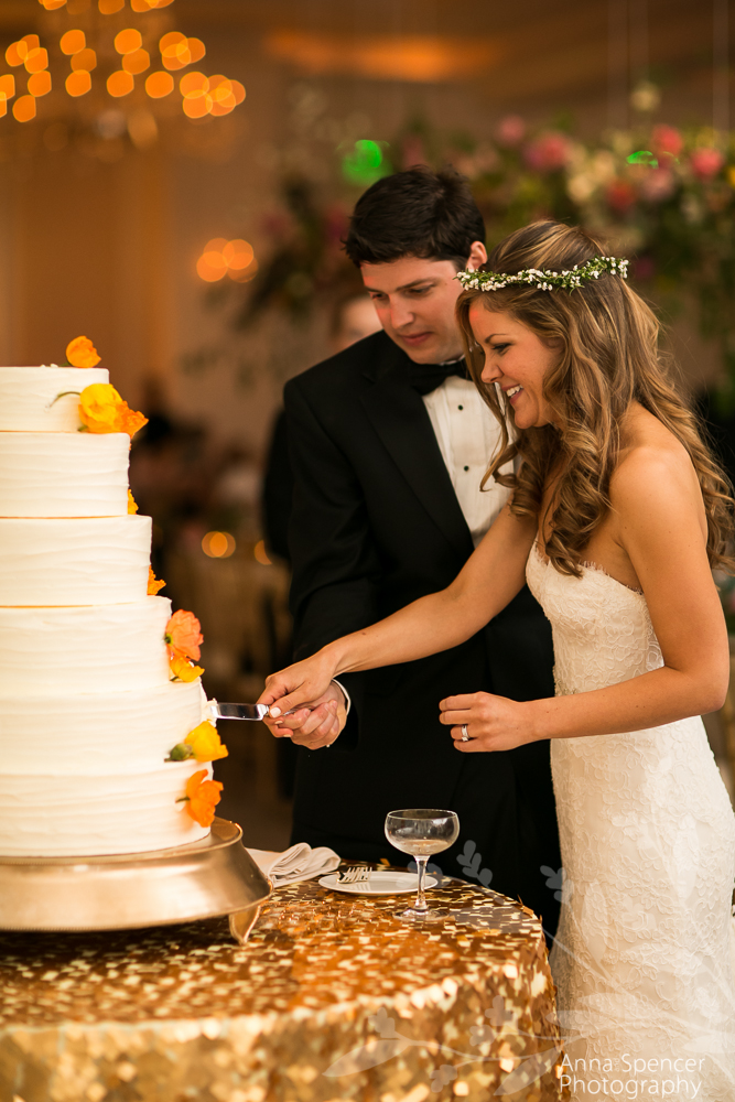 Bride and Groom Cutting the Cake in the Astor Ballroom at the St Regis