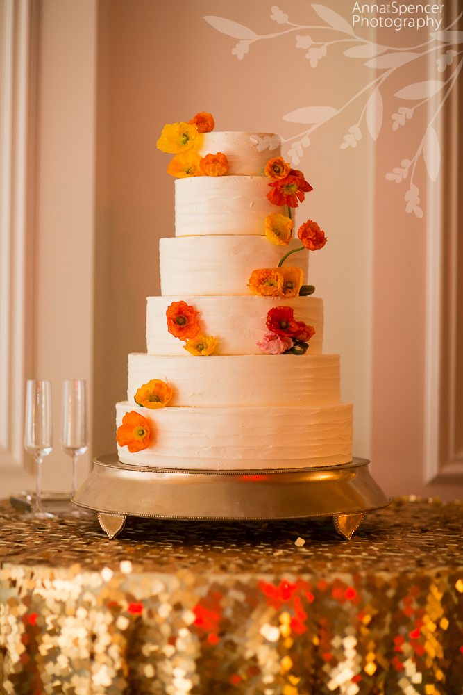 Wedding Cake with Orange and Yellow Flowers