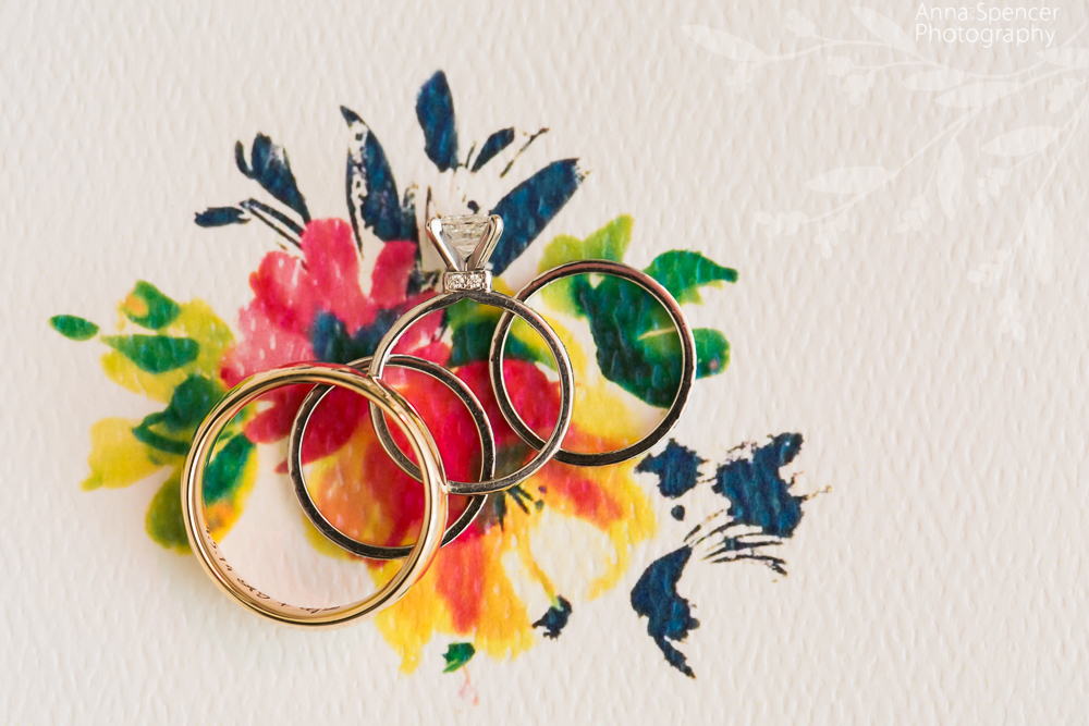 Wedding Rings on a Floral Stationery Background