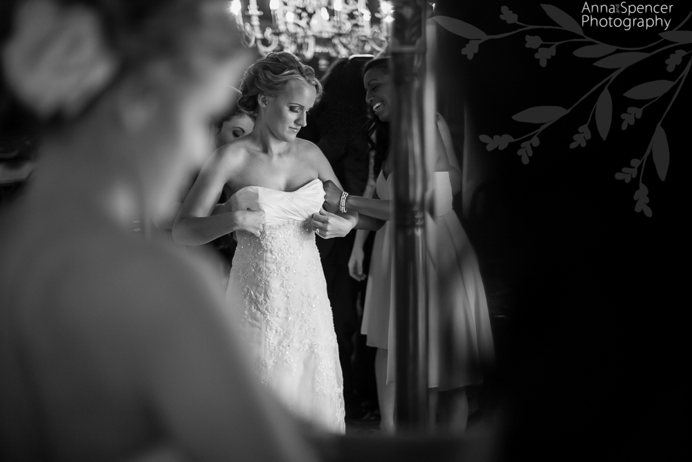 Bride Getting Ready at Tate House for her Wedding