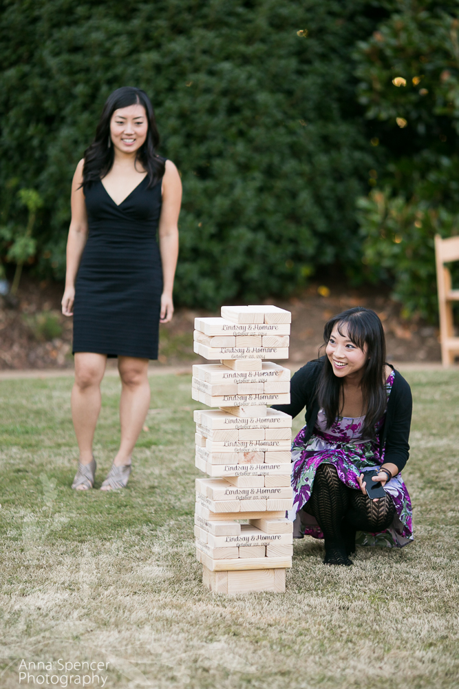 Giant Lawn Jenga at a Wedding