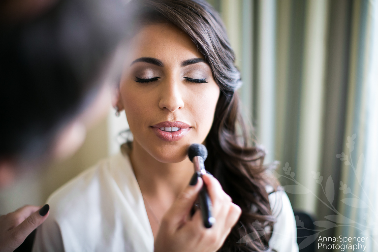 Bride Getting Ready at the Ritz Carlton Buckhead for her Wedding