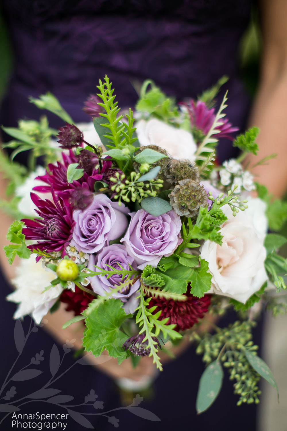 Purple and Magenta Bridesmaids Bouquet