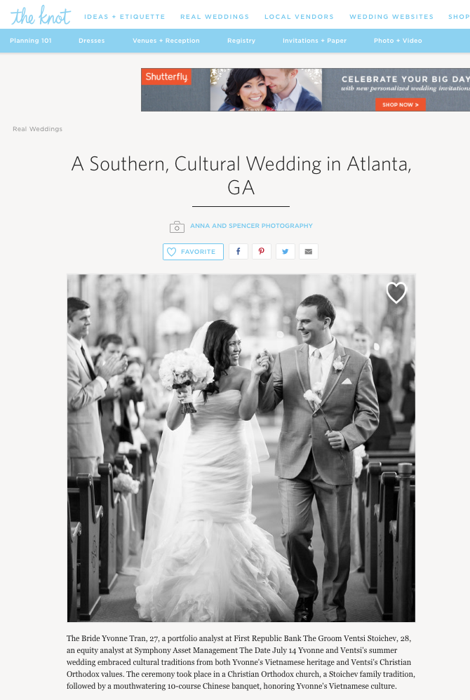 Published: The Knot.com | Yvonne & Ventsi\'s Wedding | Atlanta ...