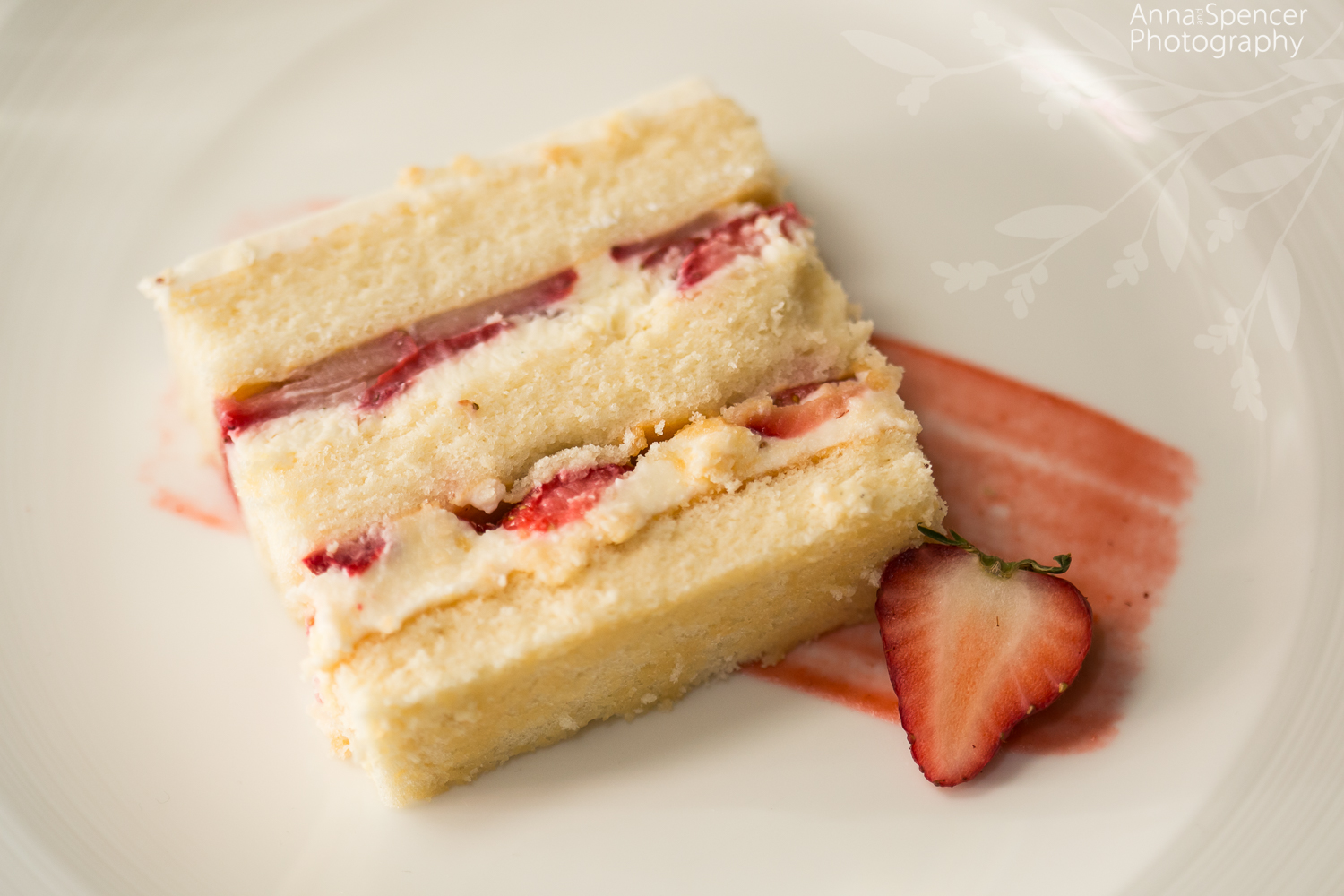 Slice of strawberry wedding cake