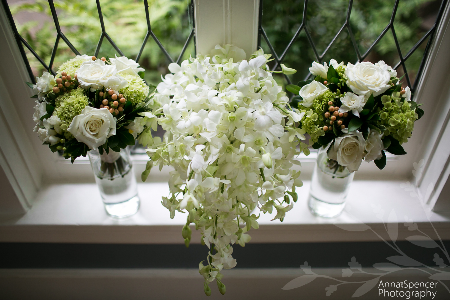 Brides white and green orchid bouquet