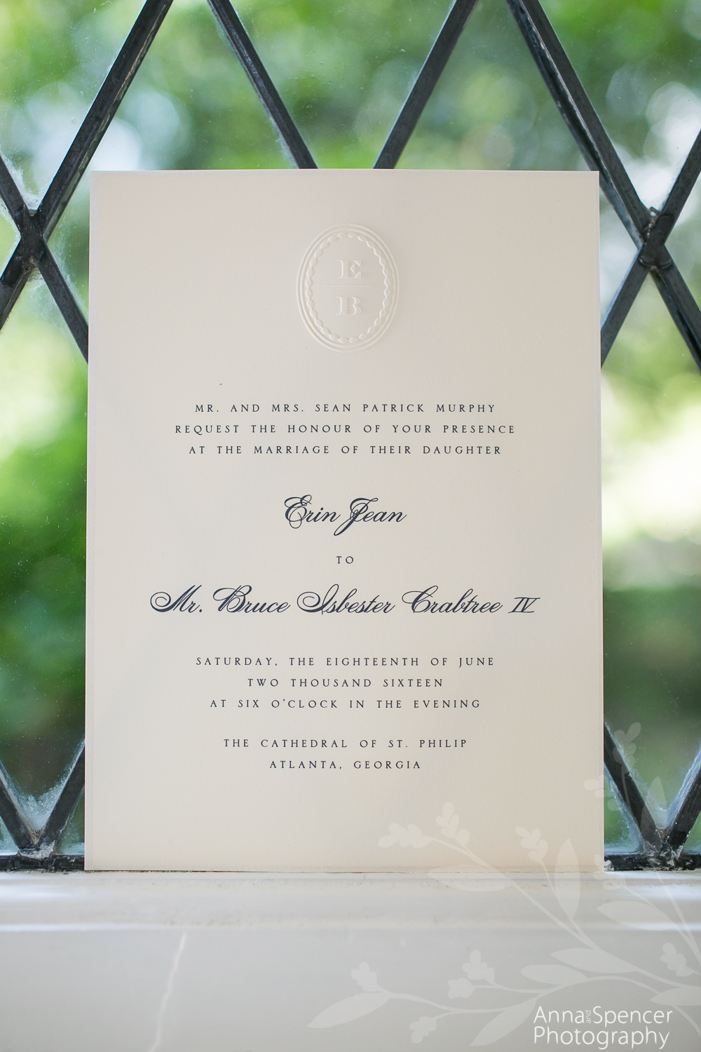 Wedding invitation blind embossed
