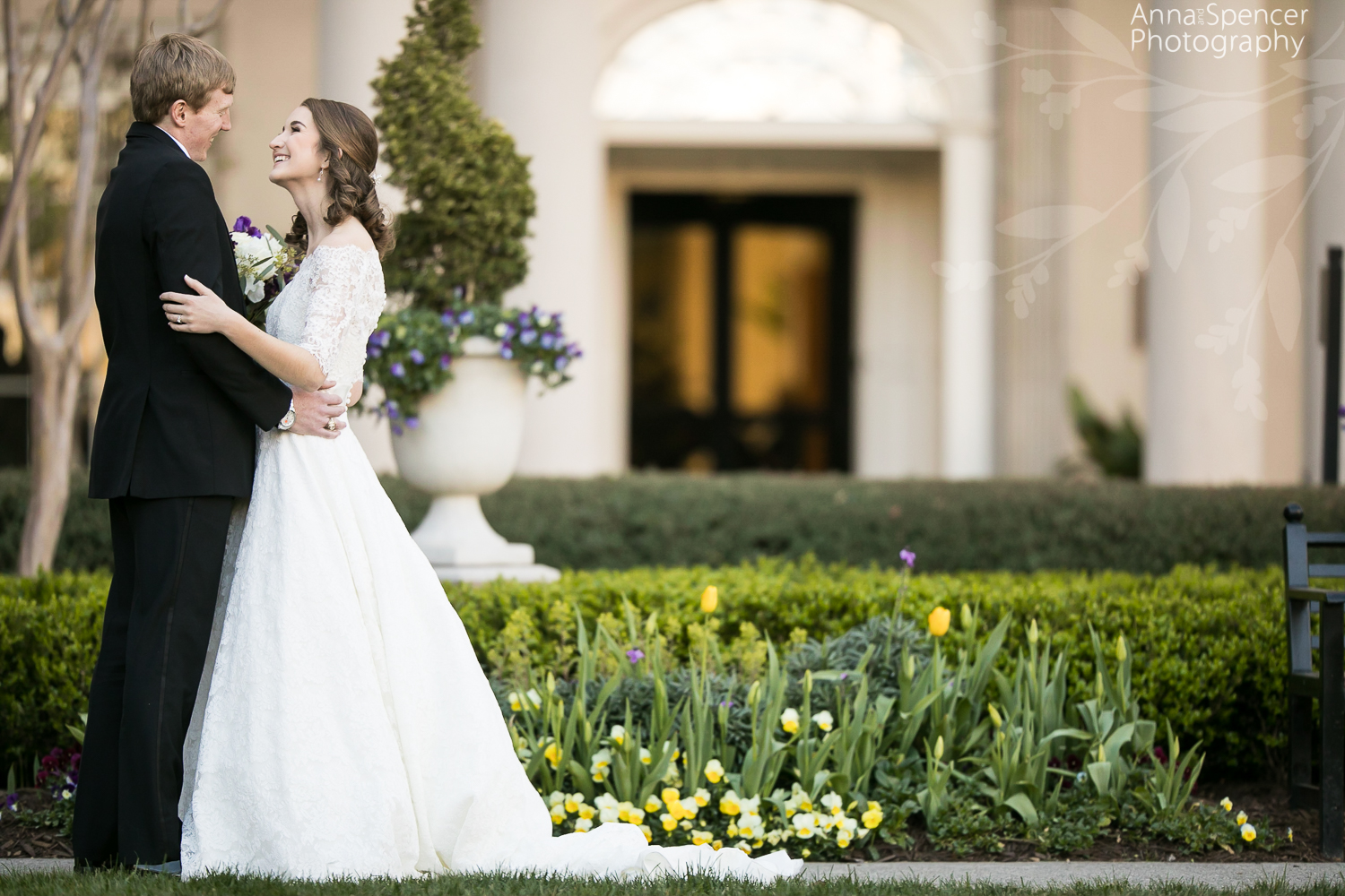 Bride and grooms first look before their wedding at the Atlanta Biltmore