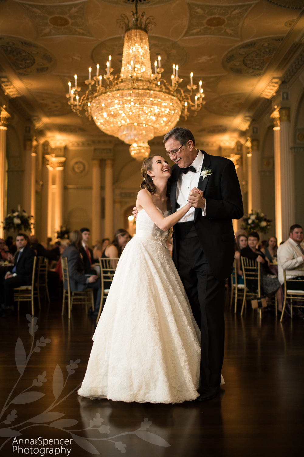 Father daughter dance at an Atlanta Biltmore Georgian Ballroom Wedding