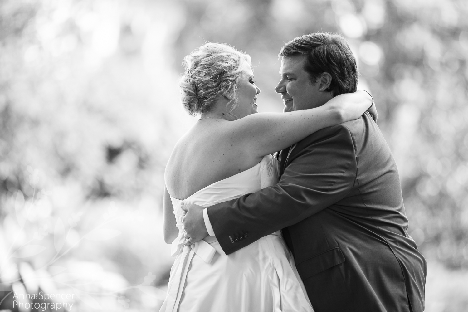 Bride and grooms first look before their wedding ceremony in Buckhead