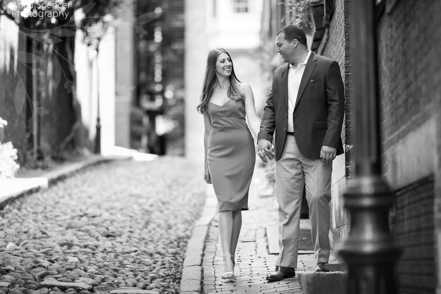 Acorn Street Beacon Hill Boston engagement session