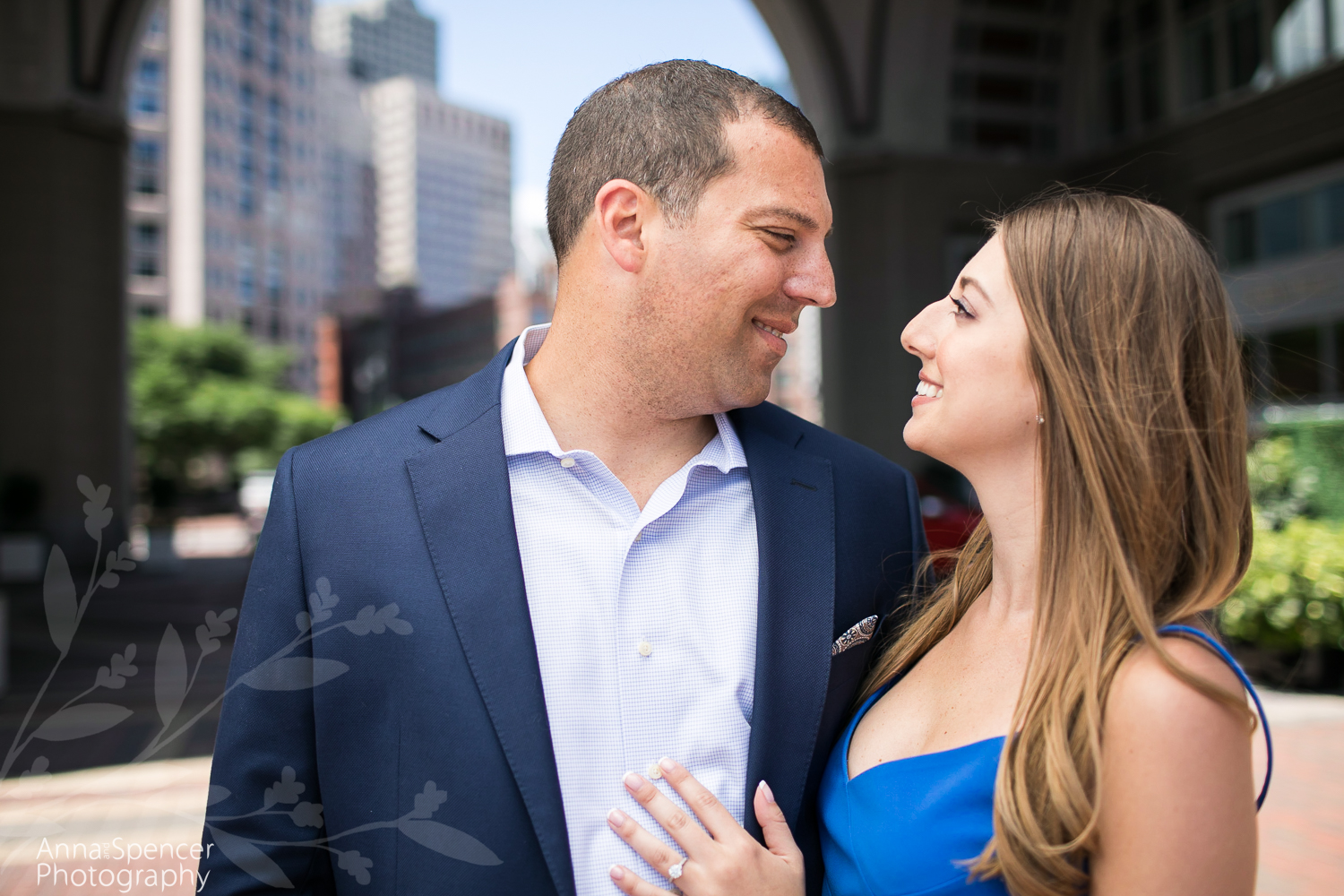 Boston Harbor Hotel skyline engagement photograph