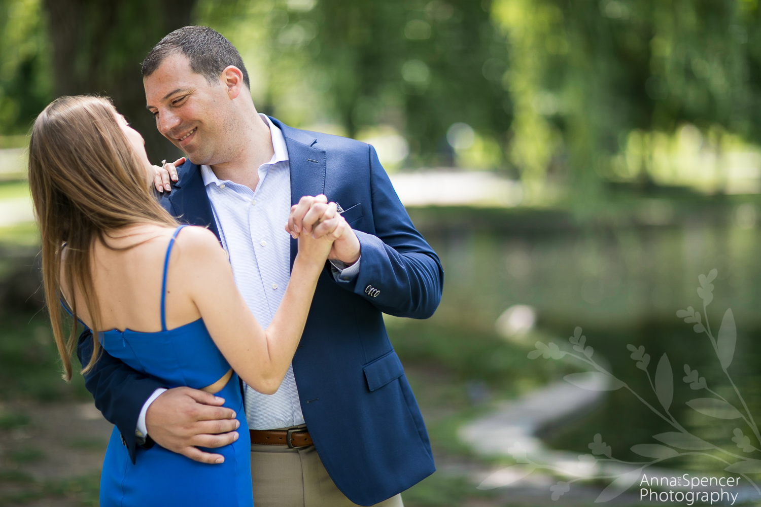 Boston Public Garden pond engagement photography