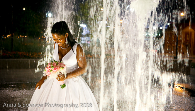 Bride in Water Fountain